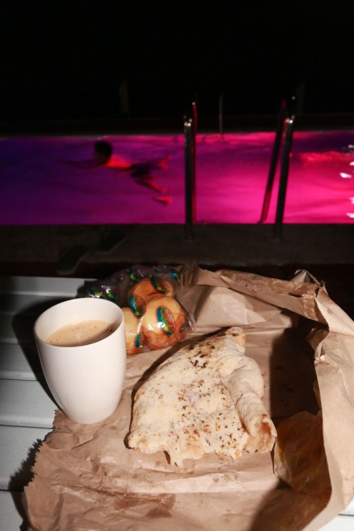 Take out calzone and ate it at the resort