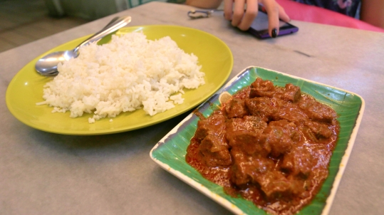 Steamed rice and beef curry